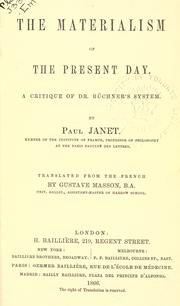 Cover of: The materialism of the present day | Janet, Paul