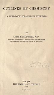 Cover of: Outlines of chemistry | Louis Kahlenberg