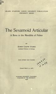 Cover of: The sesamoid articular | Edwin Chapin Starks