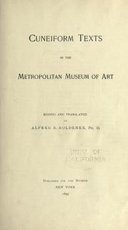 Cover of: Cuneiform texts in the Metropolitan Museum of Art | Alfred Bernard Moldenke