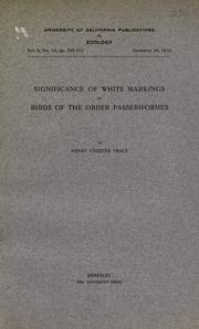 Cover of: Significance of white markings in birds of the order Passeriformes | Henry Chester Tracy