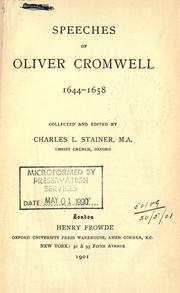 Cover of: Speeches, 1644-1658 by Cromwell, Oliver