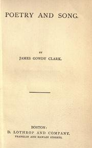 Cover of: Poetry and song by Clark, James G.