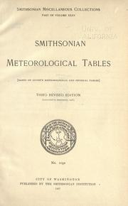 Cover of: Smithsonian meteorological tables by Smithsonian Institution