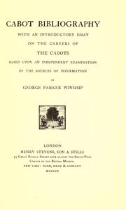 Cover of: Cabot bibliography | George Parker Winship