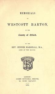 Cover of: Memorials of Westcott Barton, in the county of Oxford | Jenner Marshall