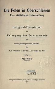 Cover of: Die Polen in Oberschlesien | Weber, Paul