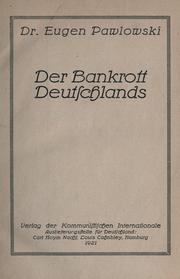 Cover of: Der Bankrott Deutschlands | Eugen Pawlowski
