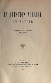 Cover of: La question agraire en Egypte | ©øHusayn ' Rif©Æa'©Æi