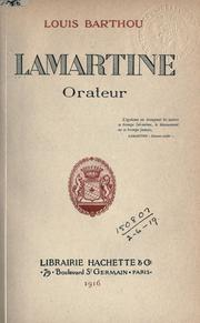 Cover of: Lamartine, orateur | Barthou, Louis