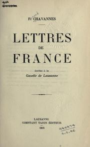 Cover of: Lettres de France | Chavannes, Fernand