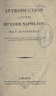 Cover of: Introduction ©Ła l'©Øetude du Code Napol©Øe | Franz de Lassaulx