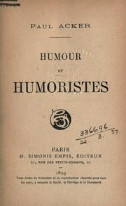 Cover of: Humour et humoristes by Acker, Paul