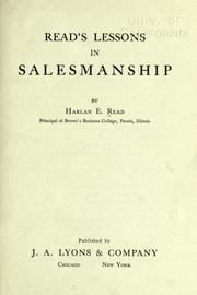 Cover of: Read's lessons in salesmanship | Read, Harlan Eugene.