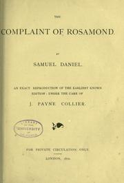 Cover of: The complaint of Rosamond | Daniel, Samuel