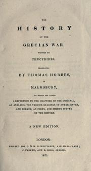 Cover of: The history of the Grecian war by Thucydides