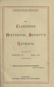 Cover of: The Clarendon historical society's reprints by Clarendon Historical Society, Edinburgh.