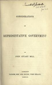 Cover of: Considerations on representative government by John Stuart Mill