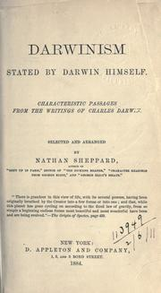 Cover of: Darwinism stated by Darwin himself | Charles Darwin