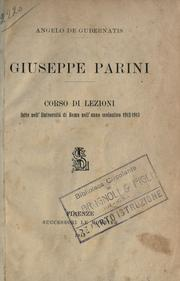 Cover of: Giuseppe Parini | Angelo De Gubernatis