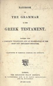 Cover of: Handbook to the grammar of the Greek Testament | Samuel G. Green
