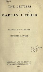 Cover of: Letters by Martin Luther
