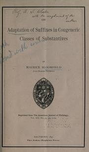 Cover of: On adaptation of suffixes in congeneric classes on substantives | Maurice Bloomfield