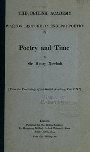 Cover of: Poetry and time | Newbolt, Henry John Sir