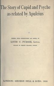 Cover of: The story of Cupid and Psyche as related by Apuleius by Apuleius.