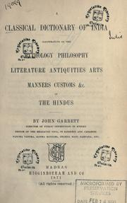 Cover of: Supplement to a Classical dictionary of India | Garrett, John