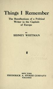 Cover of: Things I remember | Sidney Whitman