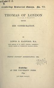Cover of: Thomas of London before his consecration | Lewis Bostock Radford