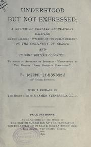 Cover of: Understood but not expressed by Joseph Edmondson