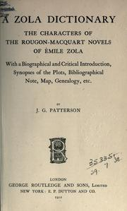 Cover of: A Zola dictionary | J. G Patterson
