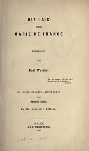 Cover of: Die Lais der Marie de France, hrsg. von Karl Warnke | Marie de France