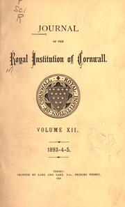 Cover of: Journal by Royal Institution of Cornwall