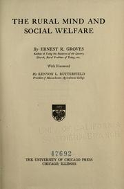 Cover of: The rural mind and social welfare | Ernest Rutherford Groves