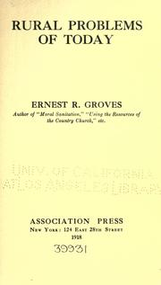 Cover of: Rural problems of today | Ernest Rutherford Groves