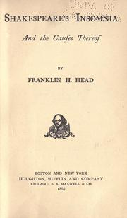 Cover of: Shakespeare's insomnia and the causes thereof | Franklin H. Head