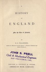 Cover of: A history of England for the use of schools by M. E. Thalheimer