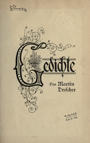 Cover of: Gedichte | Martin Drescher