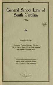General school law of South Carolina, 1912