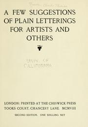 Cover of: A few suggestions of plain letterings for artists and others by Charles Thomas Jacobi