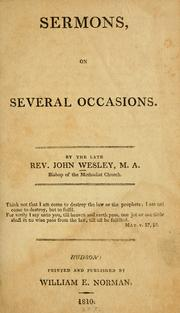 Cover of: Sermons on several occasions | John Wesley