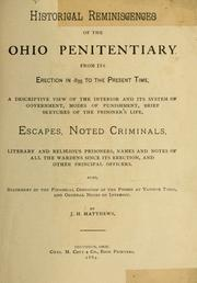 Cover of: Historical reminiscences of the Ohio Penitentiary | J. H. Matthews
