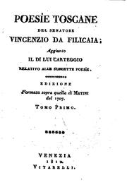 Cover of: Poesie toscane by Vincenzo da Filicaia