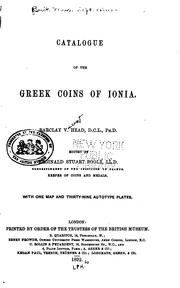 Cover of: Catalogue of the Greek coins of Ionia | British Museum. Department of Coins and Medals.