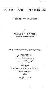 Cover of: Plato and Platonism by Walter Pater
