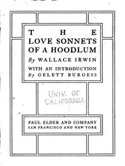 Cover of: The love sonnets of a hoodlum | Irwin, Wallace