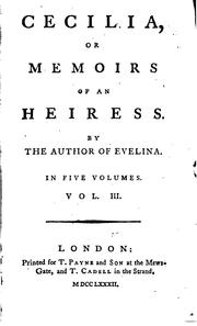 Cover of: Cecilia, or, Memoirs of an heiress | Fanny Burney